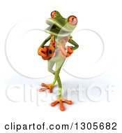 Clipart Of A 3d Hawaiian Green Springer Frog Playing A Ukulele Royalty Free Illustration