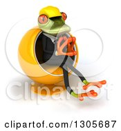 Clipart Of A 3d Contractor Springer Frog Sitting In A Cocoon Chair And Thinking Royalty Free Illustration