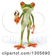 Clipart Of A 3d Green Springer Frog Holding A Waffle Ice Cream Cone Royalty Free Illustration