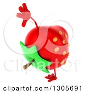 Clipart Of A 3d Strawberry Character Facing Right And Cartwheeling Royalty Free Illustration by Julos