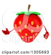 Clipart Of A 3d Strawberry Character Presenting To The Left Royalty Free Illustration by Julos