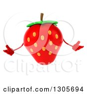 Clipart Of A 3d Strawberry Character Shrugging Royalty Free Illustration by Julos