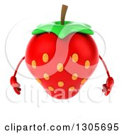Clipart Of A 3d Strawberry Character Looking Down Royalty Free Illustration by Julos