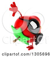 Clipart Of A 3d Strawberry Character Wearing Sunglasses Facing Right And Cartwheeling Royalty Free Illustration by Julos