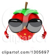 Clipart Of A 3d Strawberry Character Wearing Sunglasses And Looking Down Royalty Free Illustration by Julos