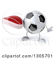 Clipart Of A 3d Soccer Ball Character Shrugging And Holding A Beef Steak Royalty Free Illustration