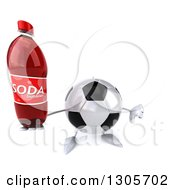 Clipart Of A 3d Soccer Ball Character Holding Up A Soda Bottle And Thumb Down Royalty Free Illustration