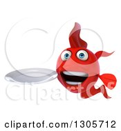 Clipart Of A 3d Red Fish Holding A Clean Plate Royalty Free Illustration