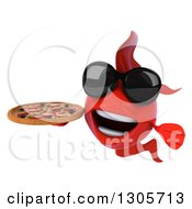 Clipart Of A 3d Red Fish Wearing Sunglasses And Holding A Pizza Royalty Free Illustration