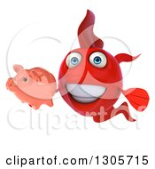 Clipart Of A 3d Red Fish Holding A Piggy Bank Royalty Free Illustration