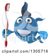 Clipart Of A 3d Blue Fish Smiling And Holding A Toothbrush Royalty Free Illustration