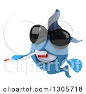 Clipart Of A 3d Blue Fish Wearing Sunglasses And Brushing His Teeth Royalty Free Illustration