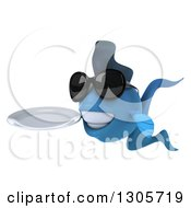 Clipart Of A 3d Blue Fish Wearing Sunglasses Facing Left And Holding A Clean Plate Royalty Free Illustration