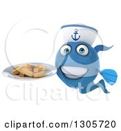 Clipart Of A 3d Happy Blue Sailor Fish Holding A Plate Of French Fries Royalty Free Illustration