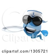 Clipart Of A 3d Happy Blue Sailor Fish Wearing Sunglasses And Holding A Clean Plate Royalty Free Illustration