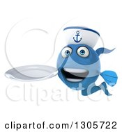 Clipart Of A 3d Happy Blue Sailor Fish Holding A Clean Plate Royalty Free Illustration