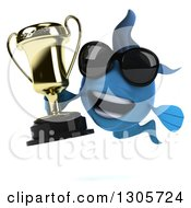 Clipart Of A 3d Blue Fish Wearing Sunglasses And Holding A Trophy Royalty Free Illustration