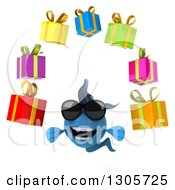 Clipart Of A 3d Blue Fish Wearing Sunglasses And Juggling Gifts Royalty Free Illustration