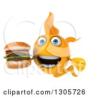 Clipart Of A 3d Yellow Goldfish Holding A Double Cheeseburger Royalty Free Illustration