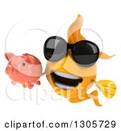 Clipart Of A 3d Yellow Goldfish Wearing Sunglasses And Holding A Piggy Bank Royalty Free Illustration