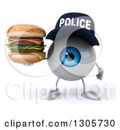 Clipart Of A 3d Blue Police Eyeball Character Holding A Double Cheeseburger Royalty Free Illustration