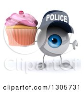 Clipart Of A 3d Blue Police Eyeball Character Holding A Thumb Down And A Pink Frosted Cupcake Royalty Free Illustration
