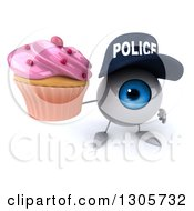 Clipart Of A 3d Blue Police Eyeball Character Holding Up A Pink Frosted Cupcake Royalty Free Illustration