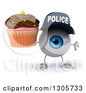 Clipart Of A 3d Blue Police Eyeball Character Holding A Thumb Down And A Chocolate Frosted Cupcake Royalty Free Illustration