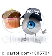 Clipart Of A 3d Blue Police Eyeball Character Shrugging And Holding A Chocolate Frosted Cupcake Royalty Free Illustration