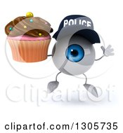 Clipart Of A 3d Blue Police Eyeball Character Jumping And Holding A Chocolate Frosted Cupcake Royalty Free Illustration