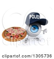 Clipart Of A 3d Blue Police Eyeball Character Holding Up A Pizza And A Thumb Down Royalty Free Illustration