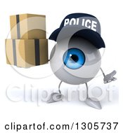 Clipart Of A 3d Blue Police Eyeball Character Shrugging And Holding Boxes Royalty Free Illustration