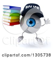 Clipart Of A 3d Blue Police Eyeball Character Jumping And Holding A Stack Of Books Royalty Free Illustration