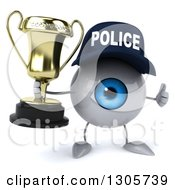 Clipart Of A 3d Blue Police Eyeball Character Giving A Thumb Up And Holding A Trophy Royalty Free Illustration