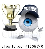 Clipart Of A 3d Blue Police Eyeball Character Shrugging And Holding A Trophy Royalty Free Illustration