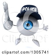 Clipart Of A 3d Blue Police Eyeball Character Jumping And Holding A Key Royalty Free Illustration