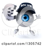 Clipart Of A 3d Blue Police Eyeball Character Jumping And Holding A Euro Symbol Royalty Free Illustration
