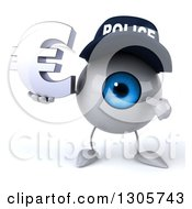 Clipart Of A 3d Blue Police Eyeball Character Holding And Pointing To A Euro Symbol Royalty Free Illustration
