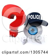 Clipart Of A 3d Blue Police Eyeball Character Holding Up A Question Mark Royalty Free Illustration
