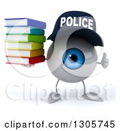 Clipart Of A 3d Blue Police Eyeball Character Giving A Thumb Up And Holding A Stack Of Books Royalty Free Illustration