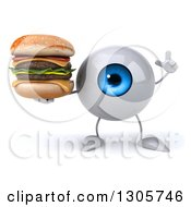 Clipart Of A 3d Blue Eyeball Character Holding Up A Finger And A Double Cheeseburger Royalty Free Illustration