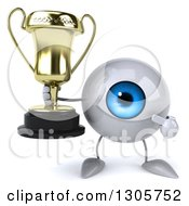 Clipart Of A 3d Blue Eyeball Character Holding And Pointing To A Trophy Royalty Free Illustration