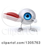 Clipart Of A 3d Blue Eyeball Character Holding And Pointing To A Beef Steak Royalty Free Illustration