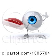 Clipart Of A 3d Blue Eyeball Character Holding Up A Finger And A Beef Steak Royalty Free Illustration