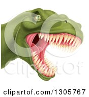 Clipart Of A 3d Roaring Angry Green Tyrannosaurus Rex Dino Head Royalty Free Vector Illustration