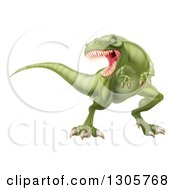 Clipart Of A 3d Roaring Angry Green Tyrannosaurus Rex Dinosaur Royalty Free Vector Illustration by AtStockIllustration
