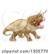 Clipart Of A 3d Roaring Angry Triceratops Dinosaur Facing Right Royalty Free Vector Illustration by AtStockIllustration