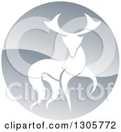 Clipart Of A Walking Stag Deer Buck In A Shiny Silver Circle Royalty Free Vector Illustration