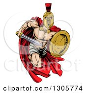 Clipart Of A Strong Spartan Trojan Warrior Mascot Sprinting With A Sword And Shield Royalty Free Vector Illustration