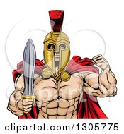 Clipart Of A Shirtless Muscular Gladiator Gladiator Man In A Helmet Flexing His Bicep And Holding A Sword From The Waist Up Royalty Free Vector Illustration by AtStockIllustration